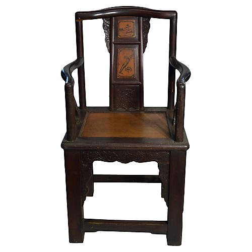 Antique Chinese Hand Carved Rattan Chair