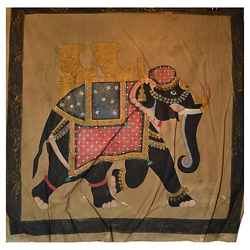 Colorful Mughal Indian Elephant Painting