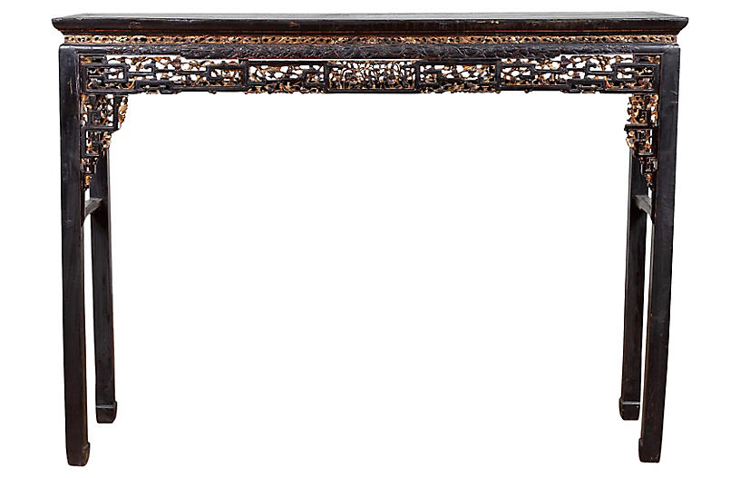 Chinese Parcel-Gilt Black Altar Table