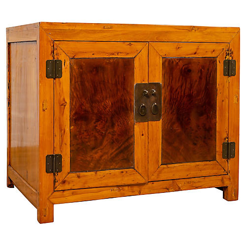 Chinese Burl and Elm Wood Cabinet