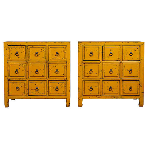 Chinese Yellow-Painted Apothecary Chests
