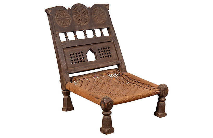 Indian Antique Rustic Low Seat Chair