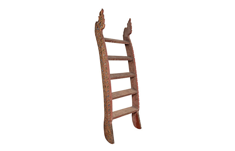 Indonesian Painted and Carved Ladder