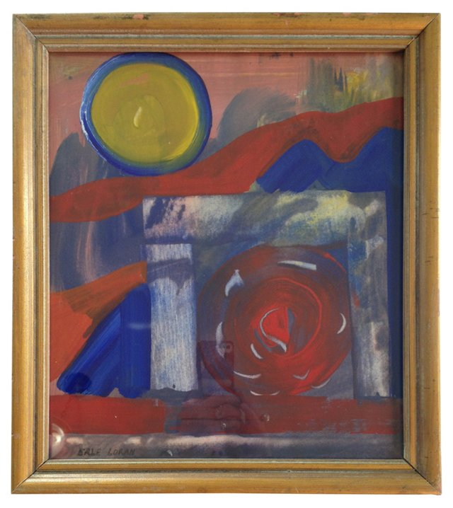 Red, Blue & Yellow Abstract by Loran