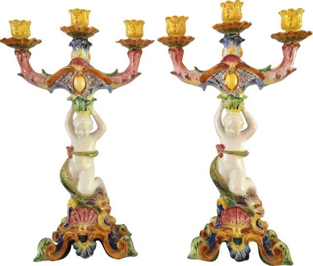 3-Arm Italian Candelabra, Pair