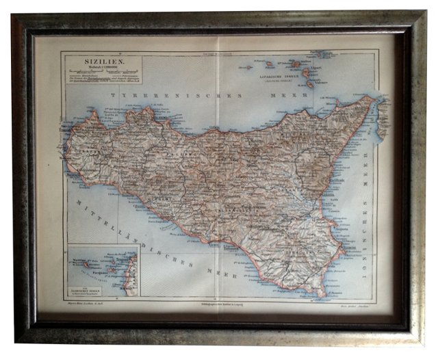 Map of Sicily, 1895