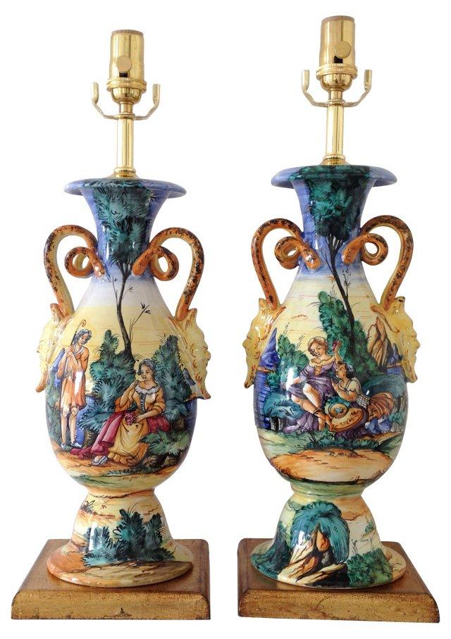 Deruta Majolica Lamps, Pair