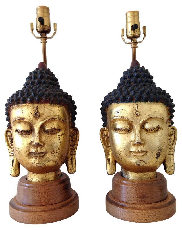 1940s Gilded Ceramic Buddha Lamps, Pair