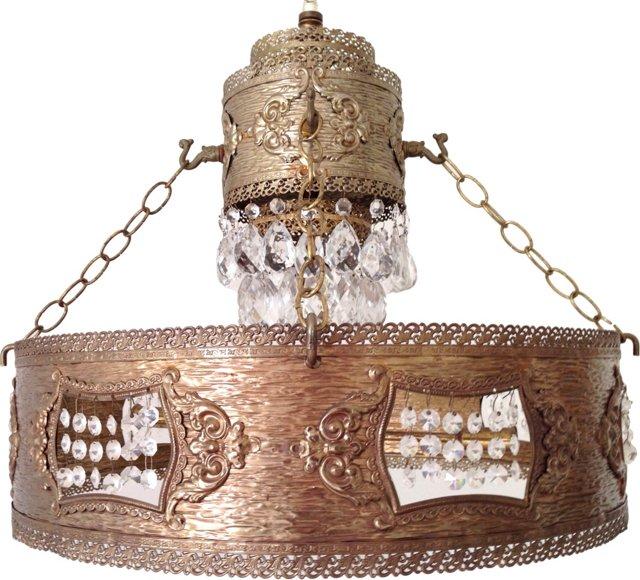 Midcentury Brass Drum Chandelier