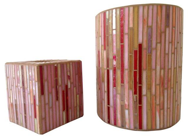 Mosaic Glass Bath Accessories, Pair