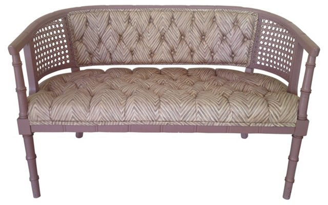 Tufted Faux-Bamboo Settee w/ Cane