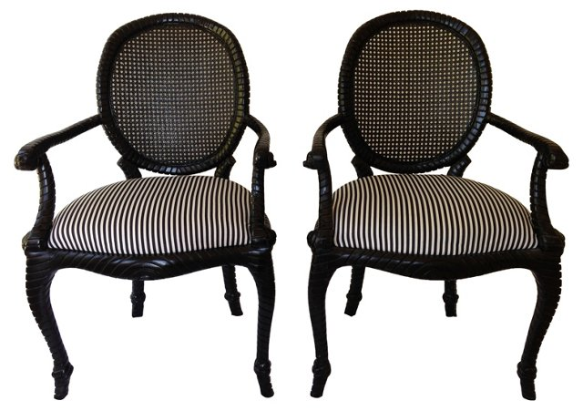 Caned Rope-Motif Armchairs, Pair