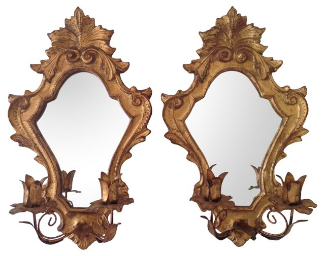 Italian Mirrored Sconces, Pair