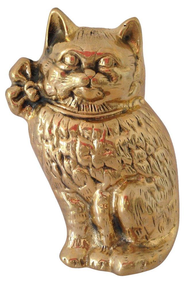 Brass Cat Door Knocker