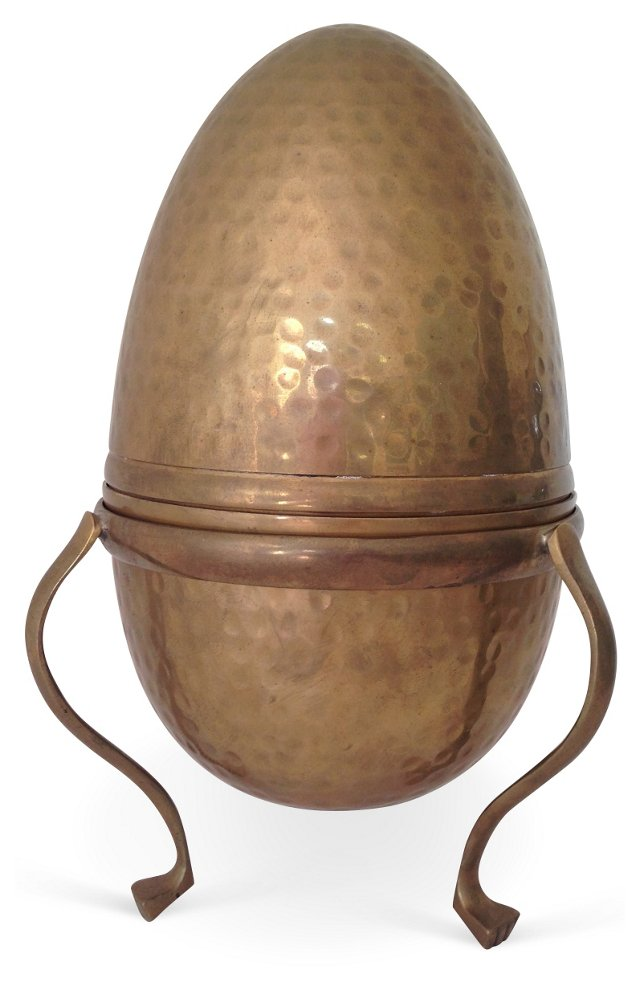 Hammered Brass Egg on Footed Stand