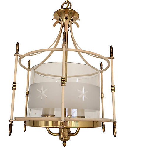 1940s Etched Glass & Brass Lantern