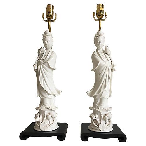 Porcelain Goddess Lamps, Pair