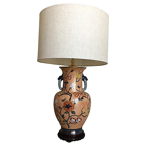 Chinese Dragons Vase Lamp w/Shade