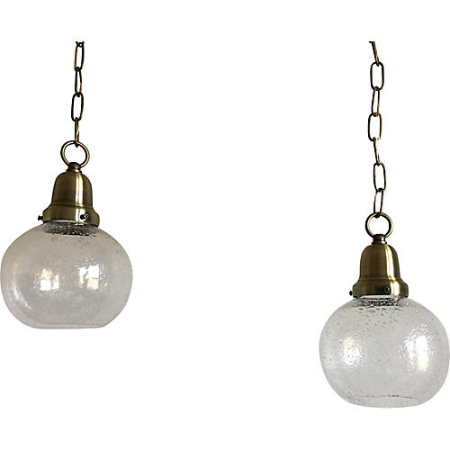 Swedish Glass Pendant Lights, Pair
