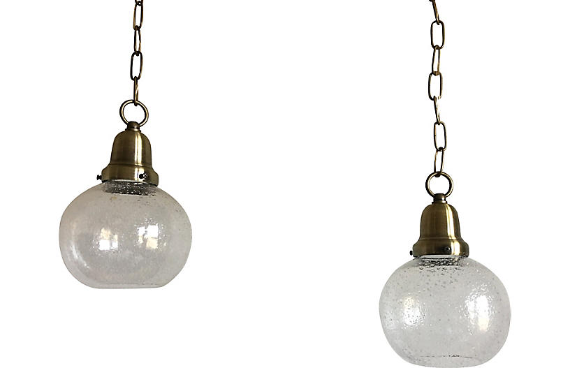 Swedish Glass Pendant Lights, Pair