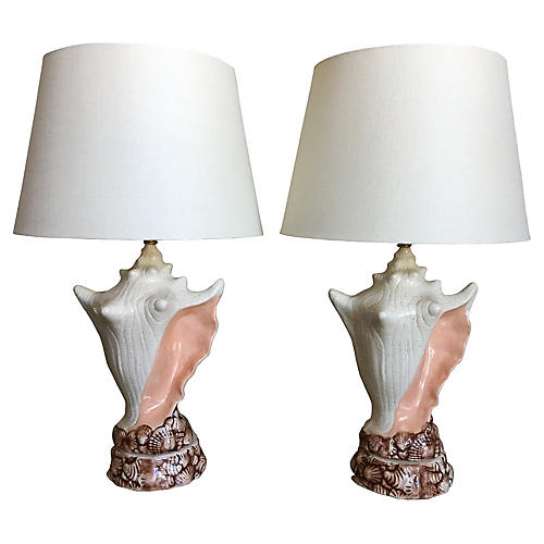 Conch Shell Lamps w/Shades, Pair