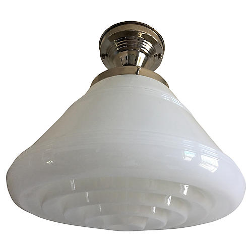 Modern Milk Glass Flush Light