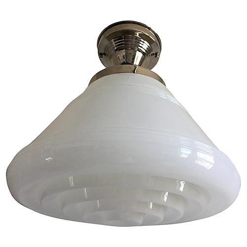 Modern Milk Glass Flush Light