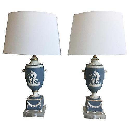 1950s Italian Jasperware Lamps, Pair