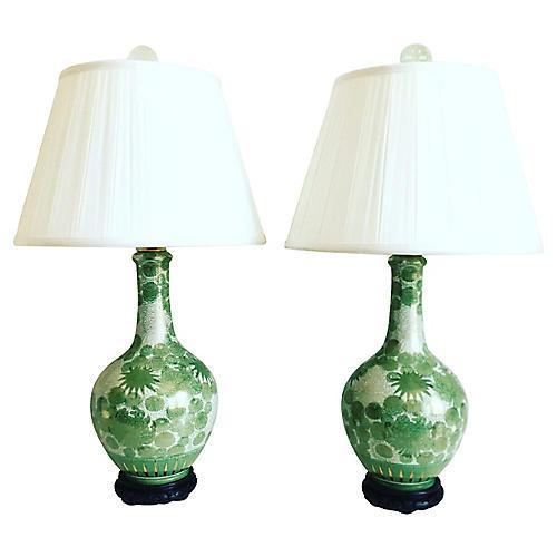 Kutani Porcelain Lamps & Shades, Pair