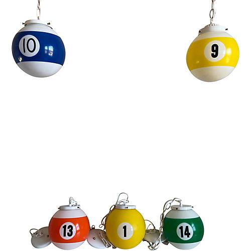 Midcentury Pool Ball Lights, S/5