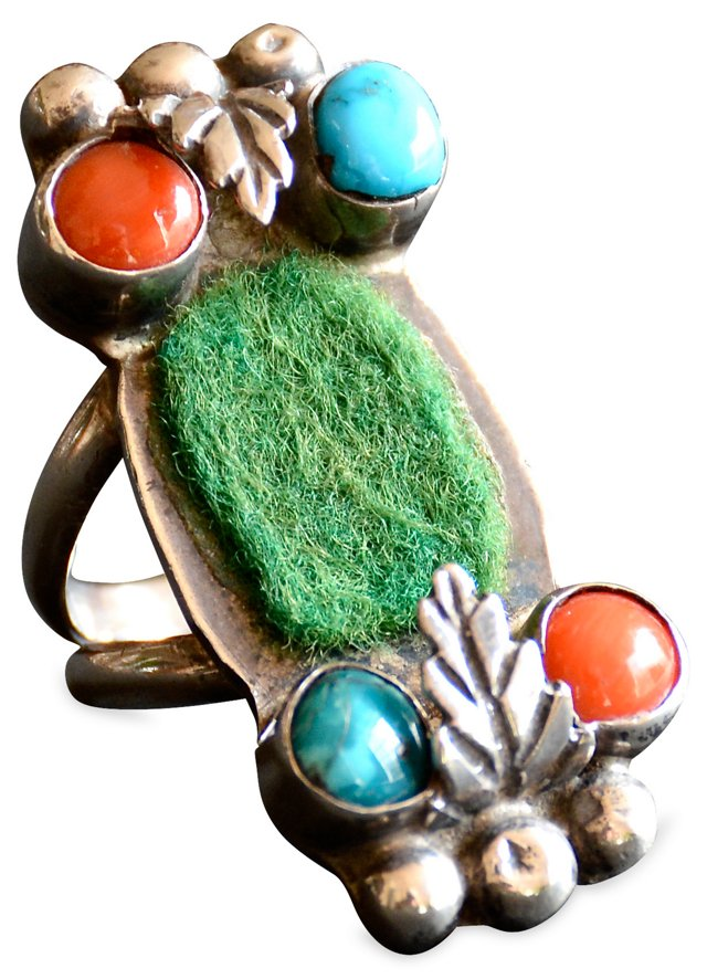 Navajo Turquoise & Coral Watch Ring