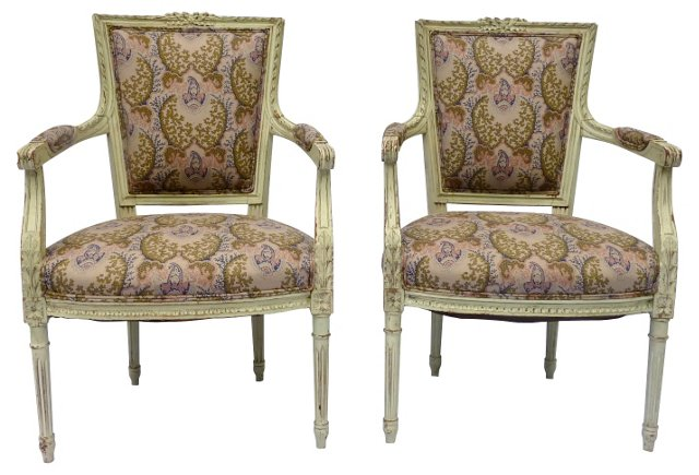 Antique Louis XVI-Style   Chairs, Pair