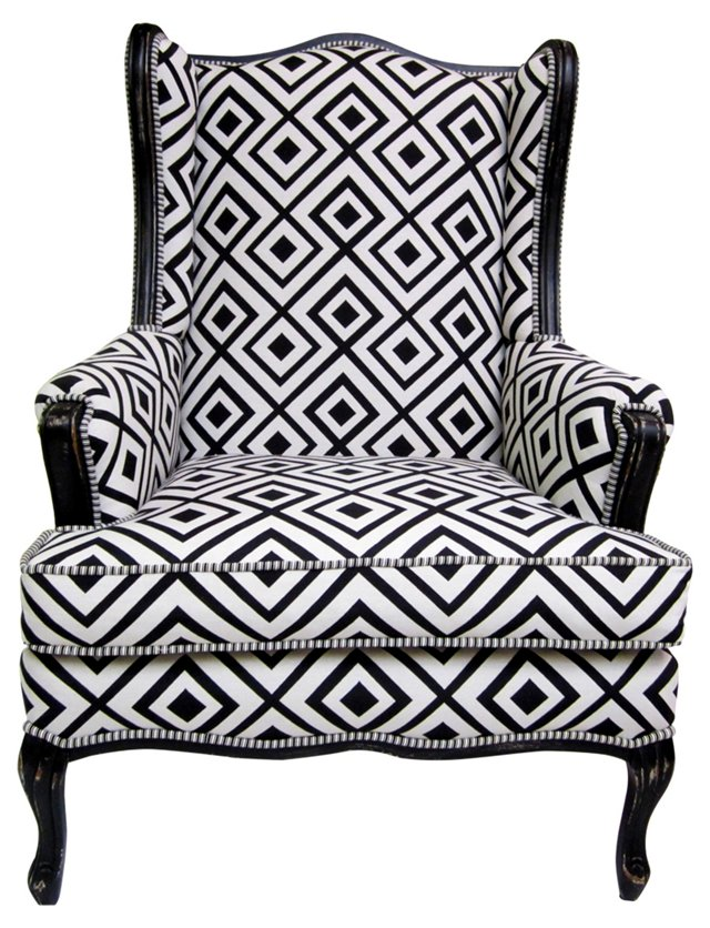Wingback w/ Black & White Upholstery