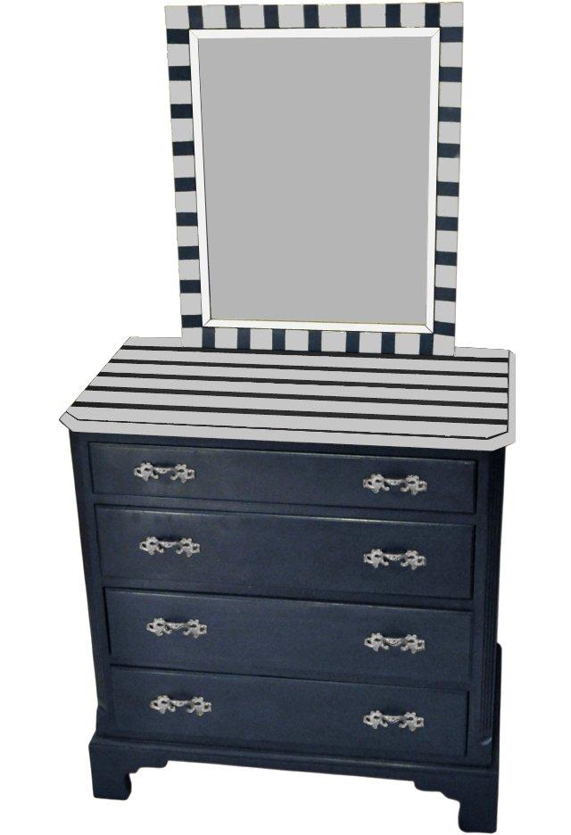 Silver Striped Chest & Mirror