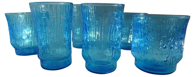 1950s Blue Ice Glasses, S/6