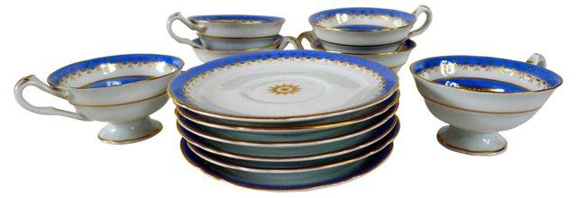 Royal Blue Tea Set, Svc. for 6