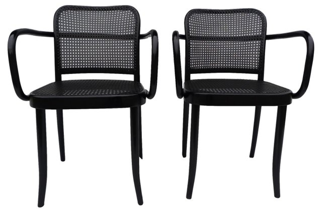 Bentwood & Caned Chairs, Pair