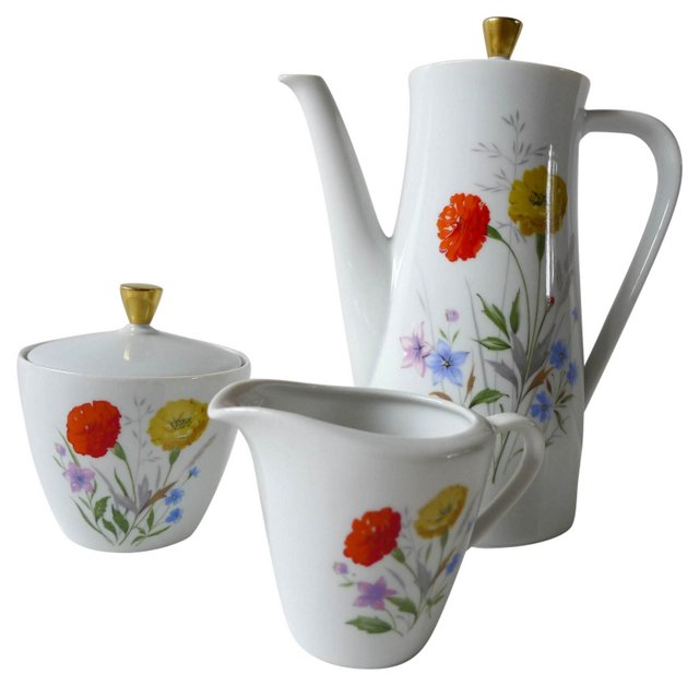 Mid-Century Modern Tea Set, S/3