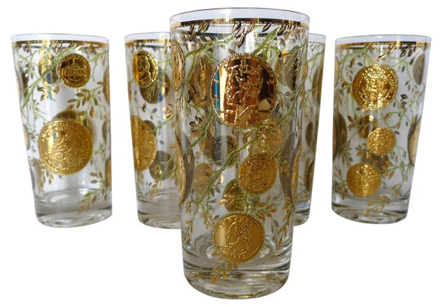 American Coin Culver Glasses, S/5