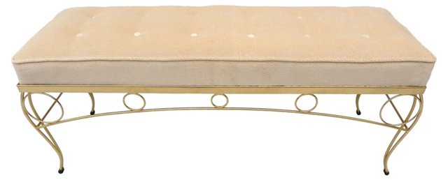 1960s Brass Velvet Bench