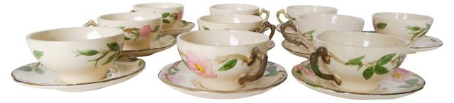 Mixed Franciscan Cups & Saucers, 10 Sets