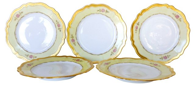 Austrian Gilded Porcelain Plates, S/5