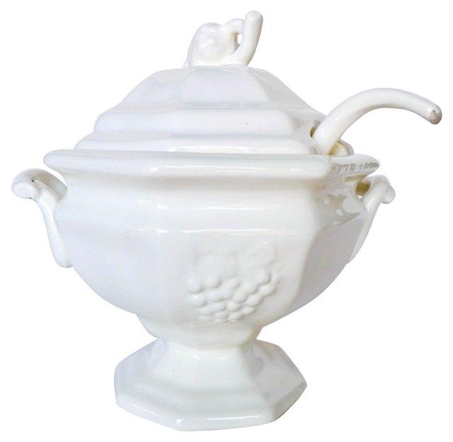 1930s Porcelain Tureen & Ladle