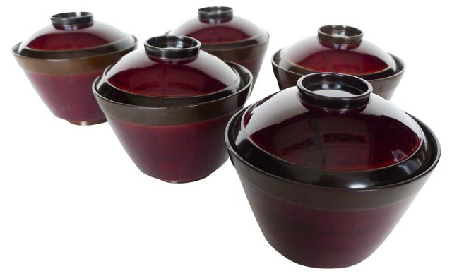 Acrylic Red Wood Rice Bowls, S/5