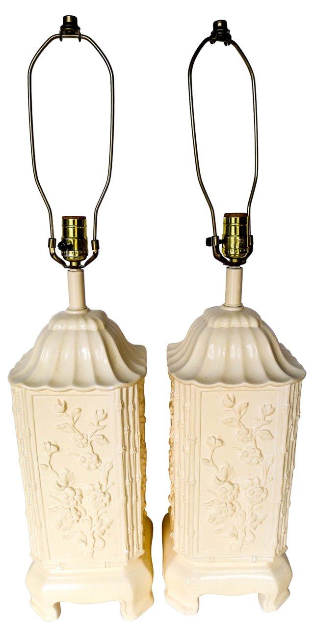 Porcelain Bamboo Lamps, Pair