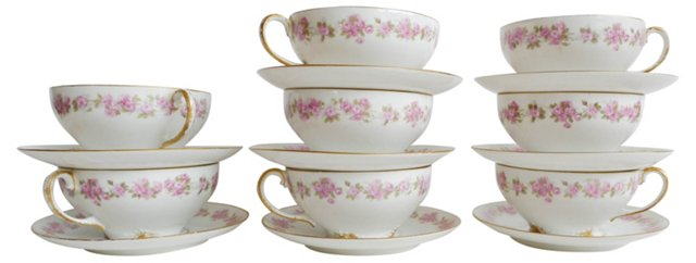 French Coffee Cups & Saucers, S/8