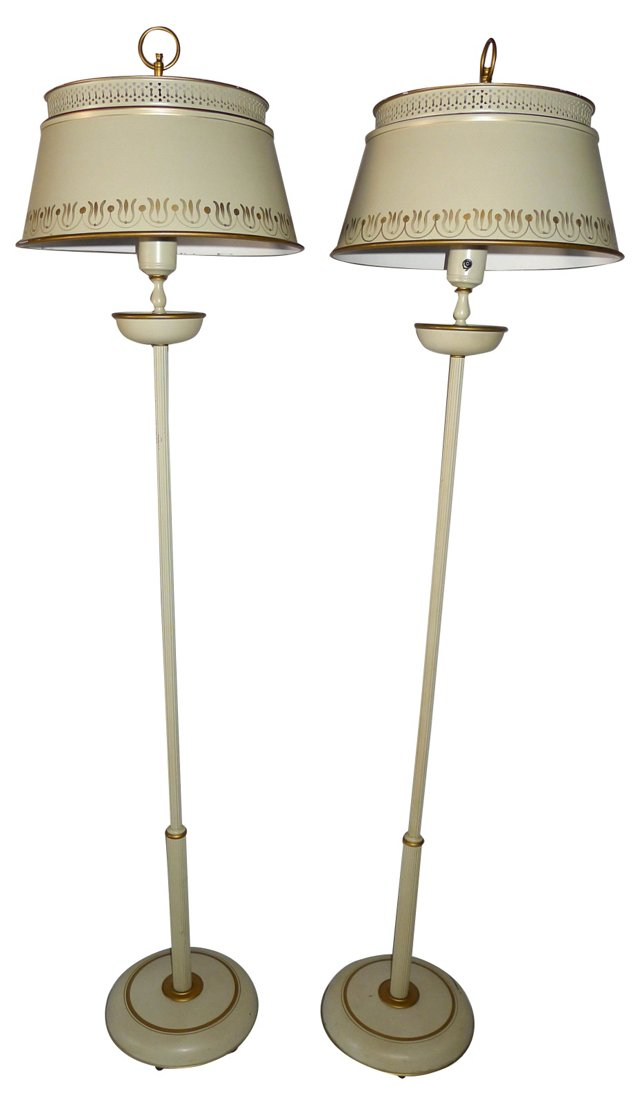 French-Style Tole Floor Lamps, Pair