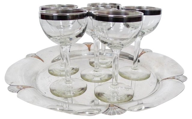 Sea Scallop Silver Tray & Wines, 7 Pcs