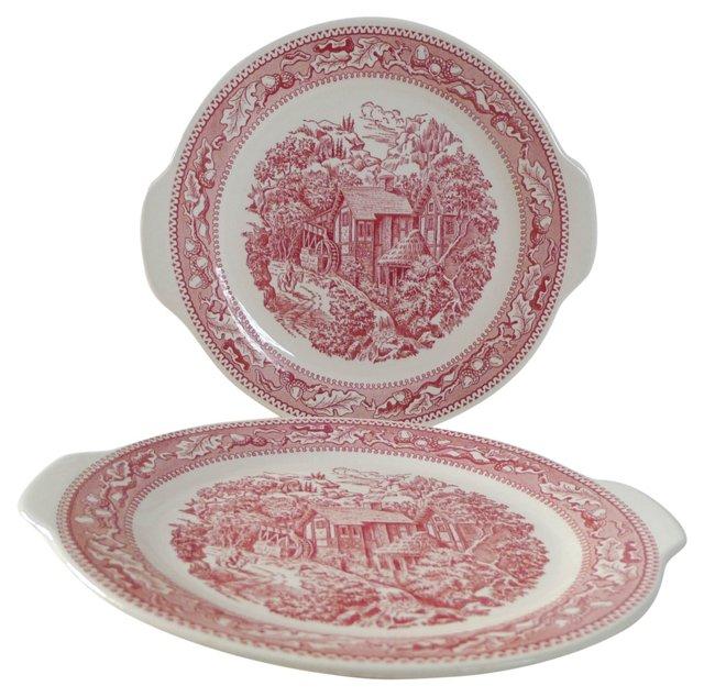 Pink & White Ironstone Platters, S/2
