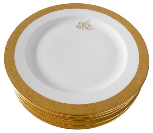 Limoges Luncheon Plates, S/5